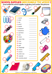 School Supplies ESL Unscramble the Words Worksheets