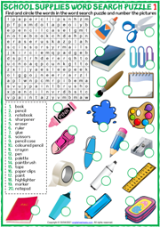 School Supplies ESL Word Search Puzzle Worksheets