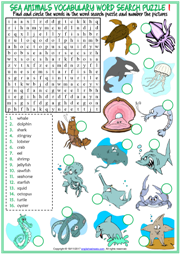 Sea Animals Word Search Puzzle ESL Worksheets For Kids