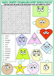 Shapes ESL Printable Word Search Puzzle Worksheet For Kids