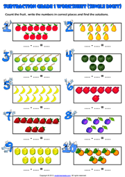 Count and Subtract Picture Maths Exercise Worksheet