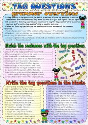 Tag Questions ESL Grammar Exercises Worksheet