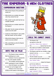 The Emperor's New Clothes ESL Reading Comprehension Questions Worksheet