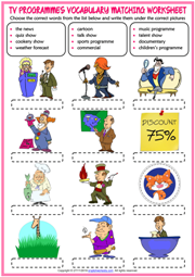 TV Programmes ESL Vocabulary Matching Exercise Worksheet