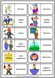 TV Programmes ESL Printable Dominoes Game For Kids