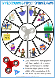 TV Programmes ESL Printable Fidget Spinner Game For Kids