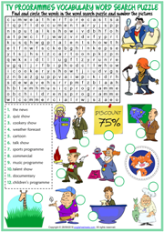 TV Programmes ESL Word Search Puzzle Worksheet For Kids