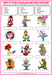 Types of Films ESL Vocabulary Matching Exercise Worksheet