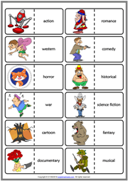 Types of Films ESL Printable Dominoes Game For Kids