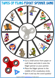 Types of Films ESL Printable Fidget Spinner Game For Kids