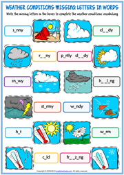 Weather Conditions ESL Missing Letters In Words Worksheet