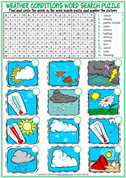Weather Conditions ESL Word Search Puzzle Worksheet