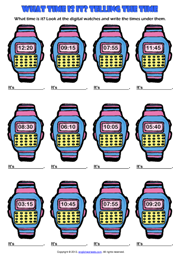 Telling the Time Digital Watch ESL Exercise Worksheet