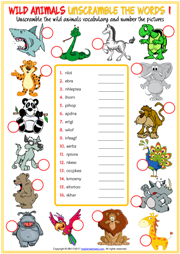 Wild Animals Unscramble the Words ESL Worksheets For Kids