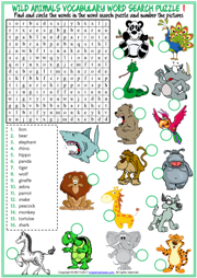 Wild Animals Word Search Puzzle ESL Printable Worksheets