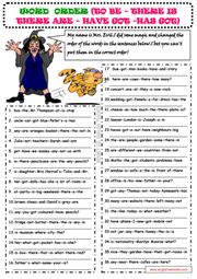 Word Order ESL Grammar Exercise Worksheet for Kids