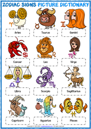 Zodiac Signs ESL Printable Picture Dictionary Worksheet