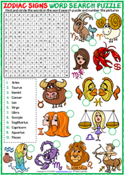 Zodiac Signs ESL Printable Word Search Puzzle Worksheet